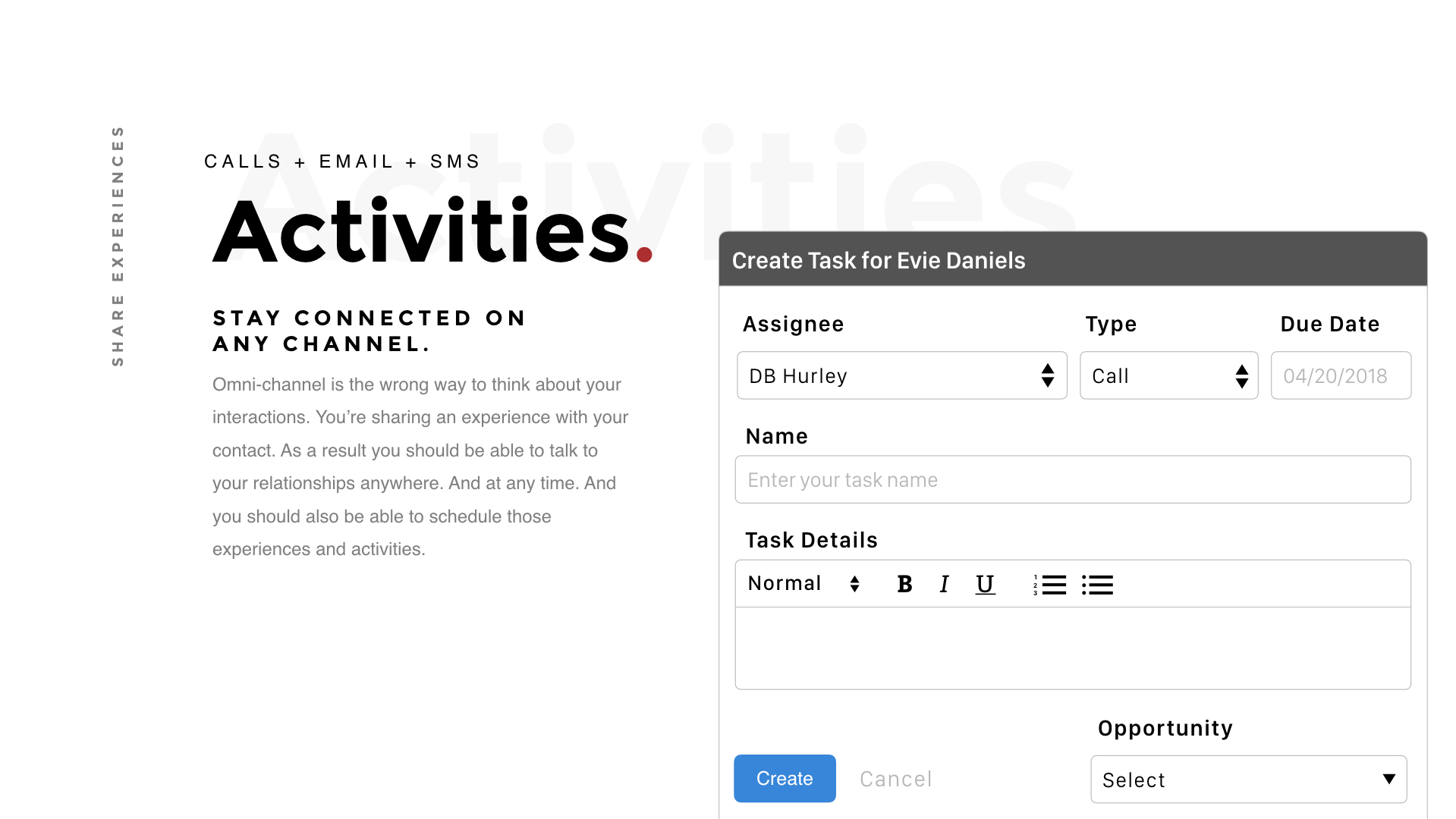 Creating Activities in Saelos for Tasks Calls SMS