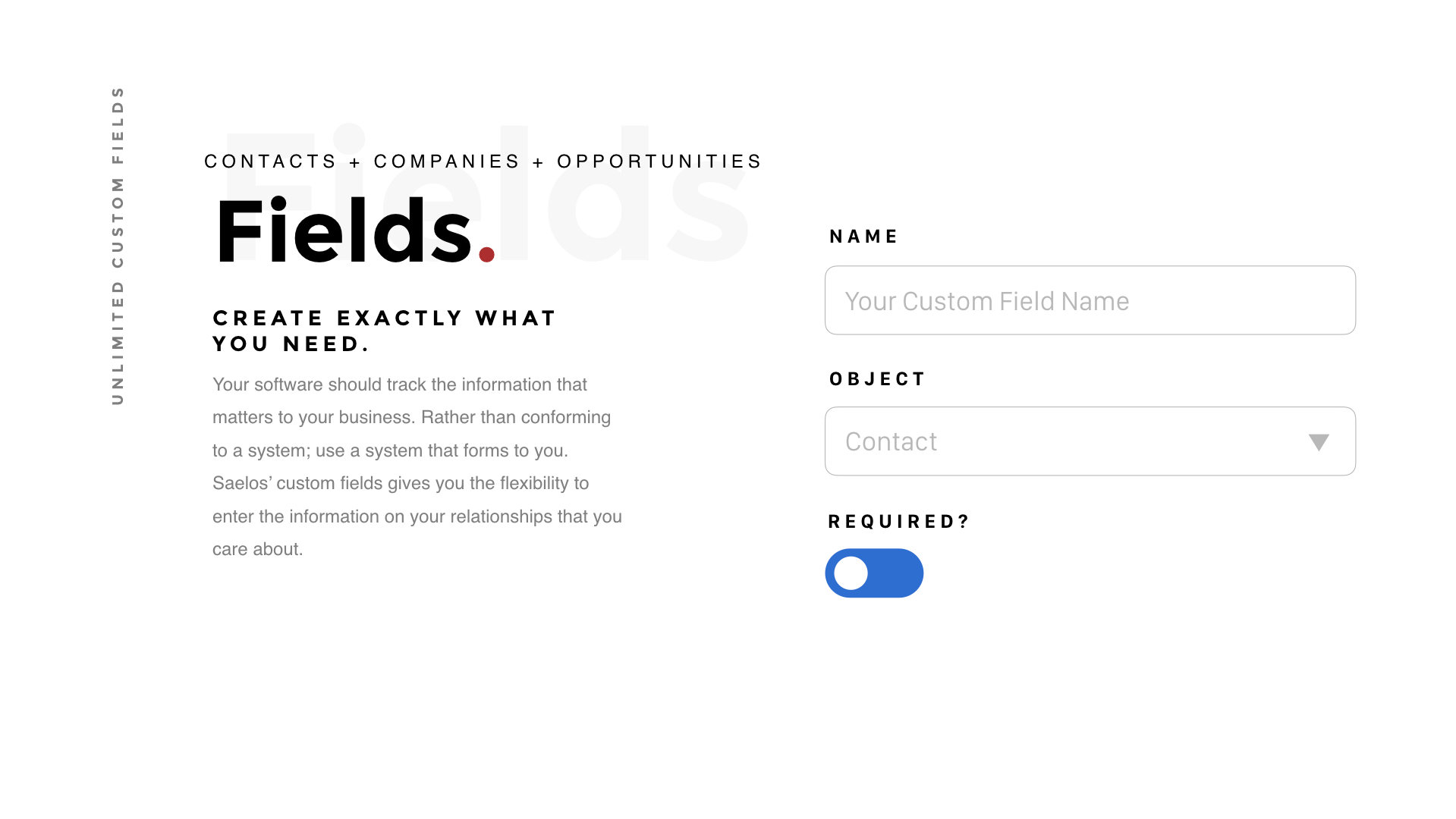 Custom CRM Fields in Saelos for Tracking Everything